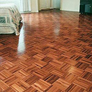 lantai kayu mozaik jati terpasang